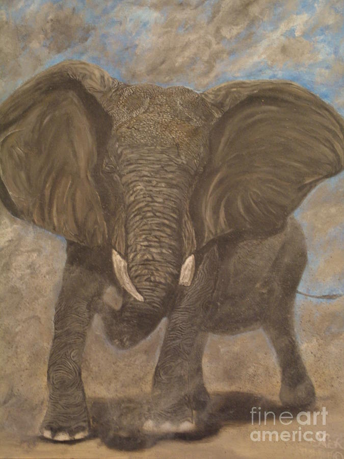 Elephant Painting - Elephant Charging by Nick Gustafson