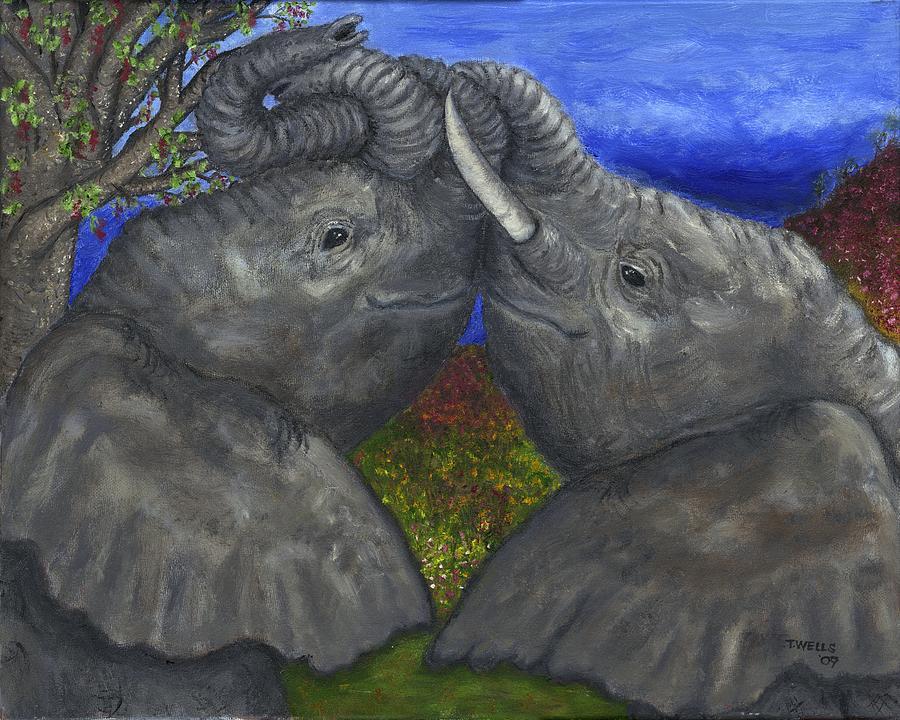 Elephants Painting - Elephant Hugs by Tanna Lee M Wells