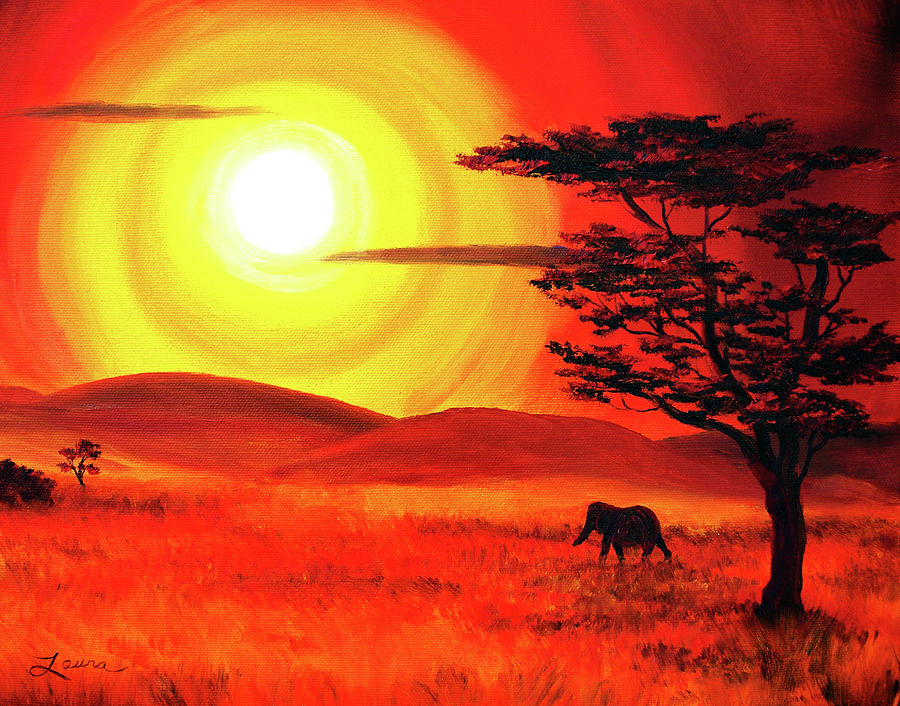 Elephant In A Bright Sunset Painting By Laura Iverson