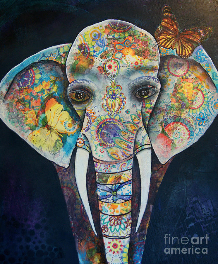 Elephant Painting - Elephant Mixed Media 2 by Reina Cottier