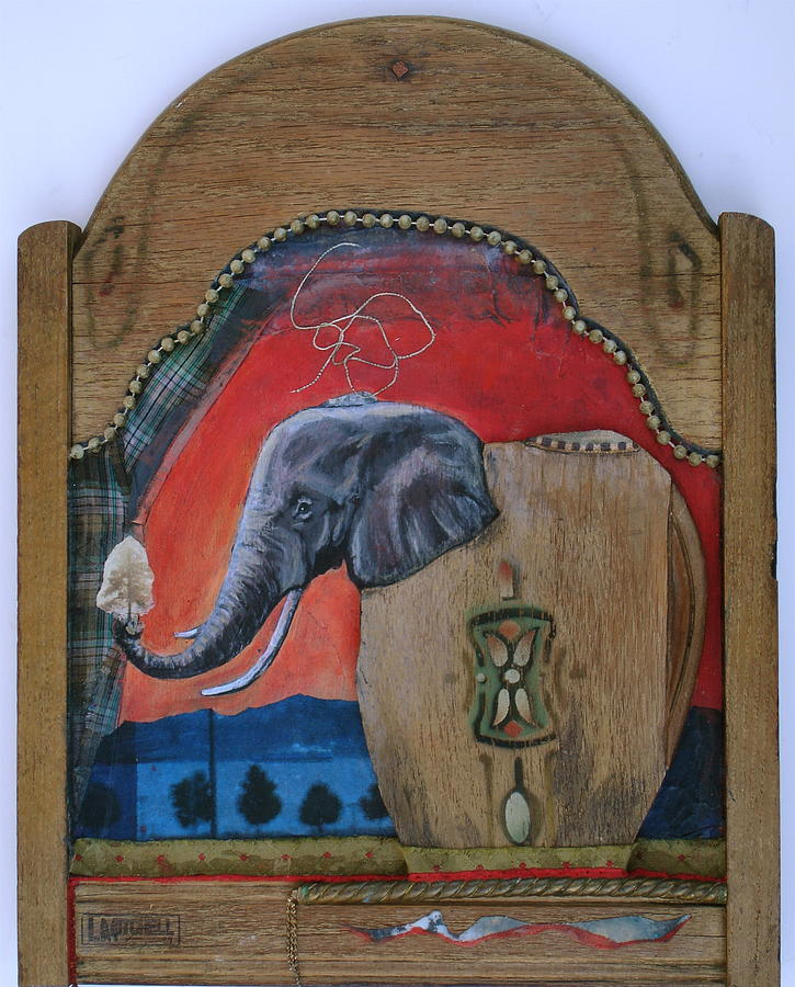 Chair Back Mixed Media - Elephant Vessel by Linda Mitchell