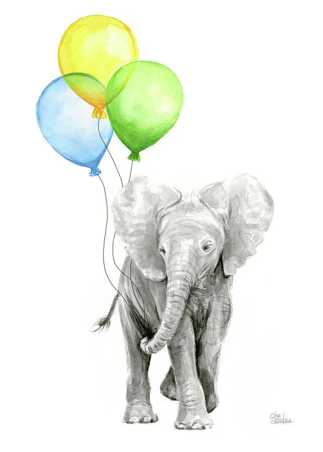 elephant watercolor baby animal nursery art painting by
