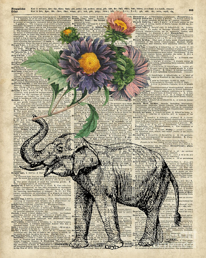 Elephant Digital Art - Elephant With Flowers by Anna W