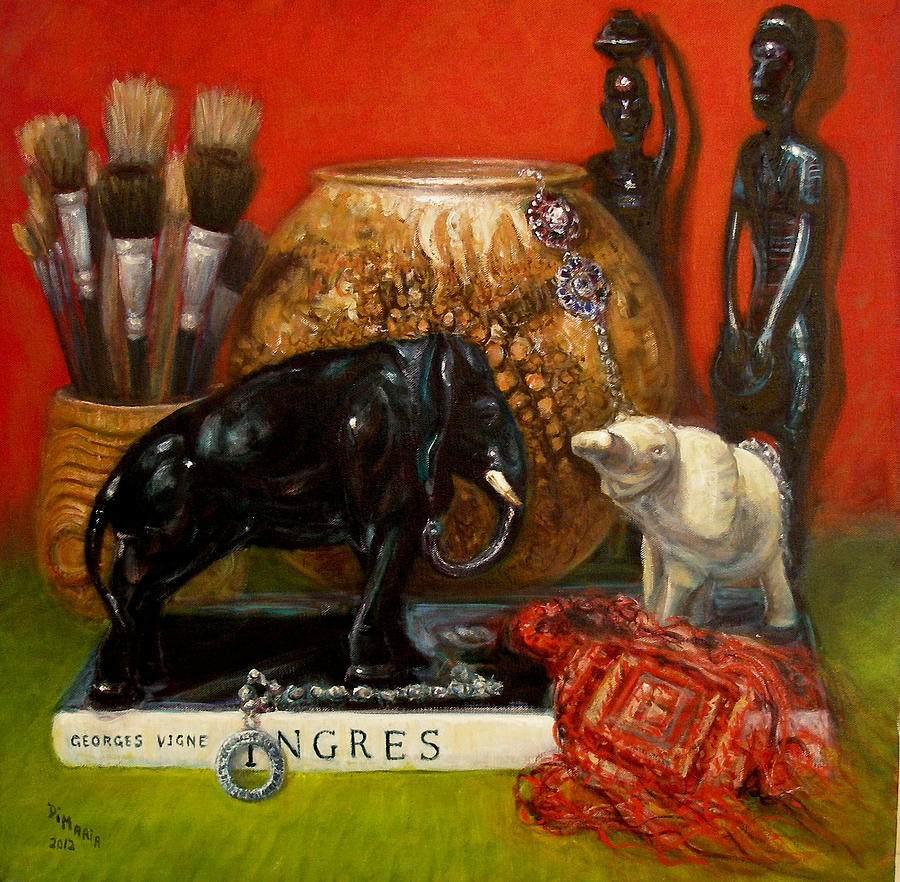 Realism Painting - Elephants and Ingres by Donelli  DiMaria