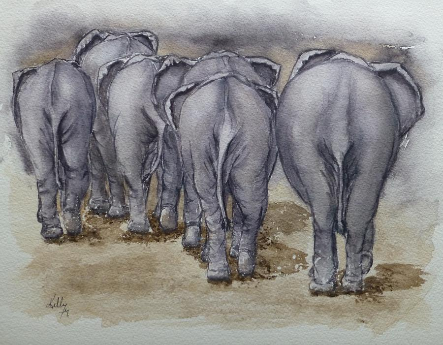 Elephants Leaving...No Butts about it by Kelly Mills