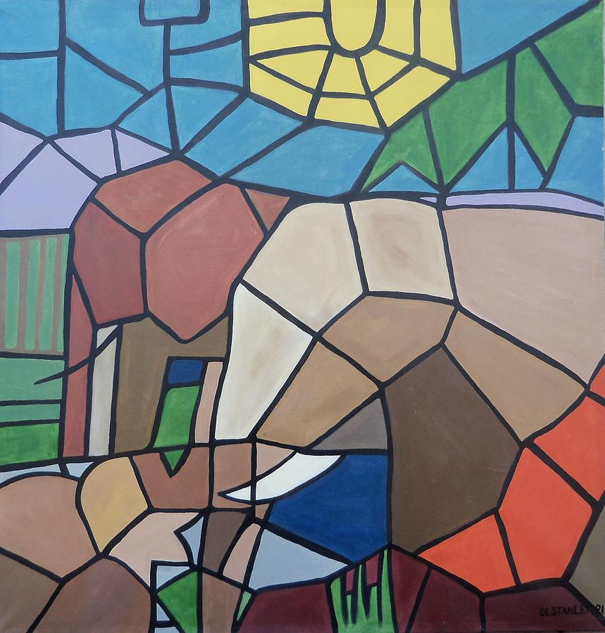 Elephants Painting by Otis L Stanley