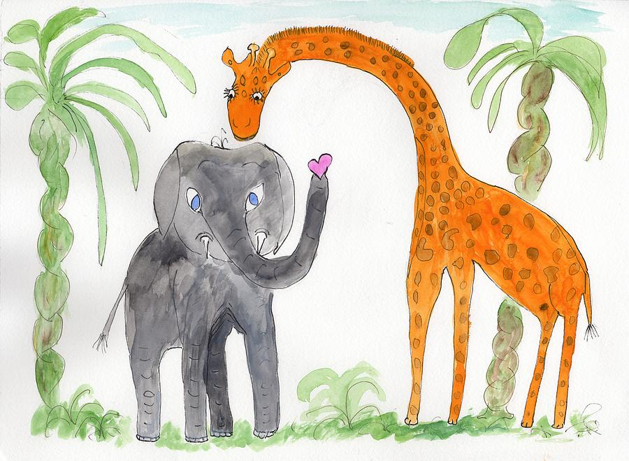 Elephoot and Elliot under the palms by Helen Holden-Gladsky