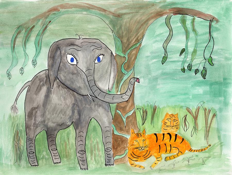 Elephoot, Ben and Jen Bengal Tigers Under the Banyan by Helen Holden-Gladsky