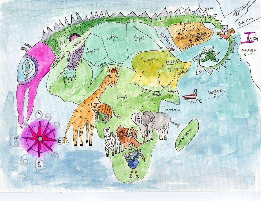 Elephoot's Map of Africa by Helen Holden-Gladsky