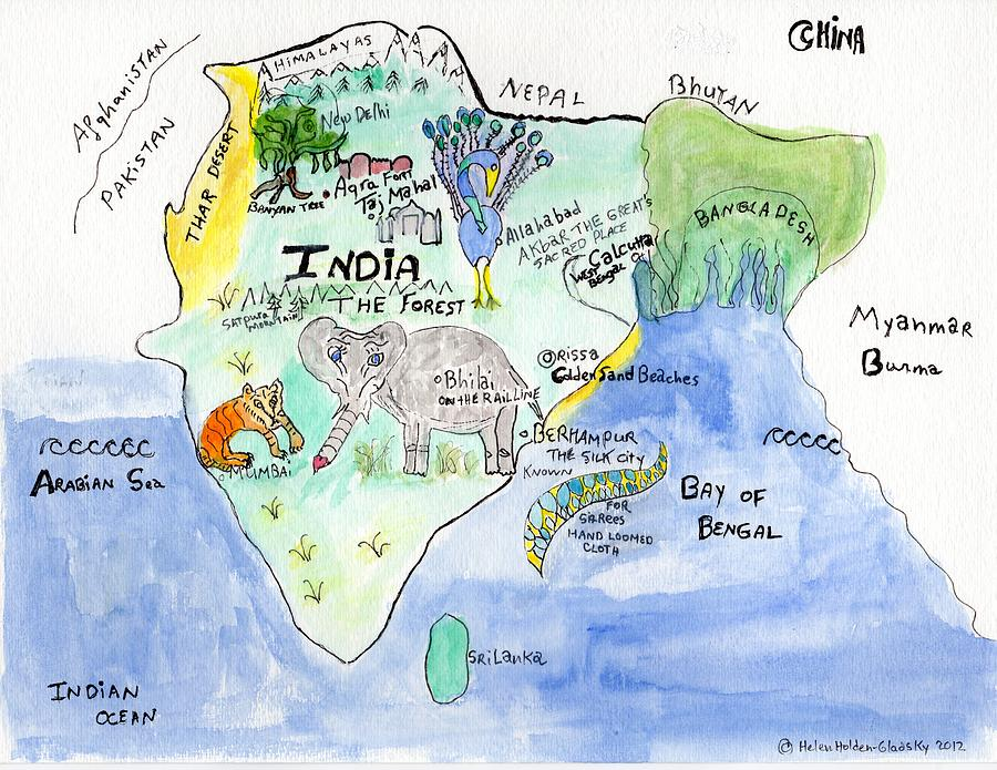 Elephoot's Map of India by Helen Holden-Gladsky