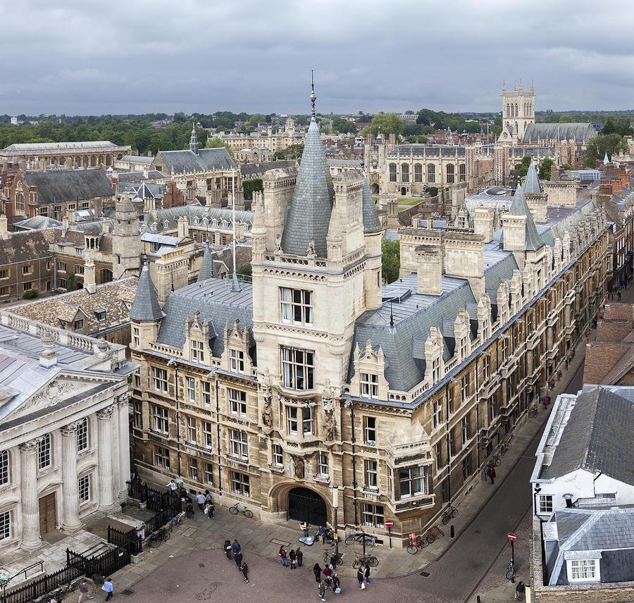 Cambridge Photograph - Elevated view of Cambridge by Gillian Dernie