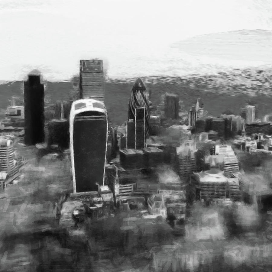 London Black And White Digital Art - Elevated View Of London by Gillian Dernie