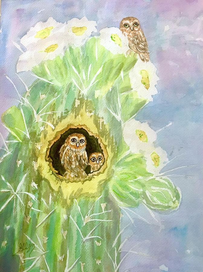 Elf Owls In Saguaro Cactus Painting By Ellen Levinson