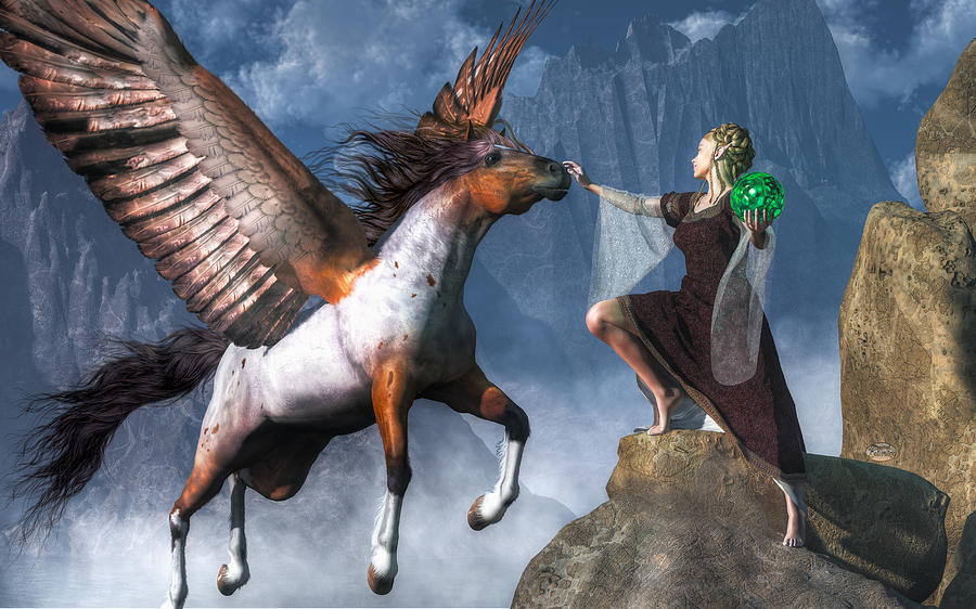 Fantasy Digital Art - Elf Summoning A Pegasus by Daniel Eskridge