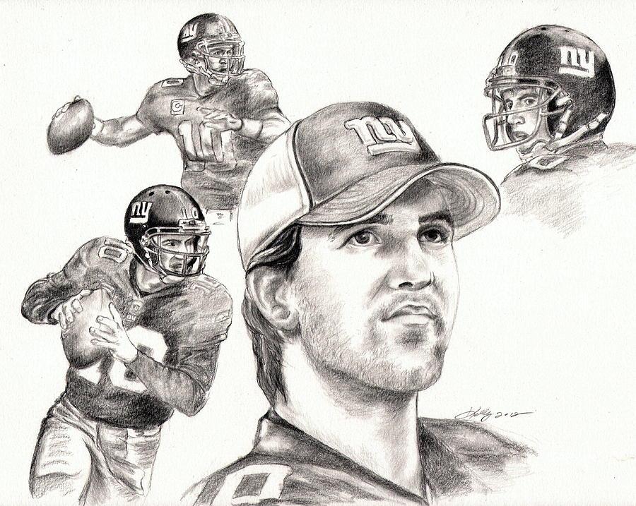 Eli Manning Drawing - Eli Manning by Kathleen Kelly Thompson