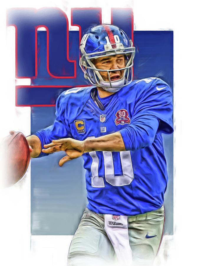 Eli Manning Mixed Media - Eli Manning New York Giants Oil Art by Joe Hamilton