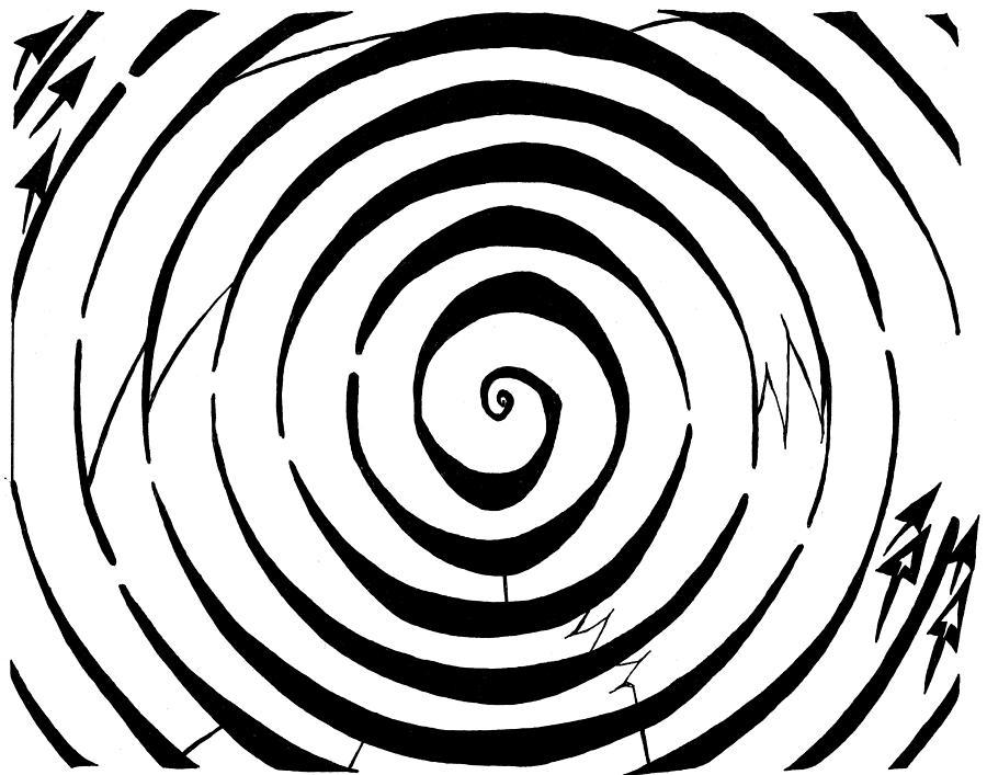Maze Drawing - Eliptical Maze by Yonatan Frimer Maze Artist