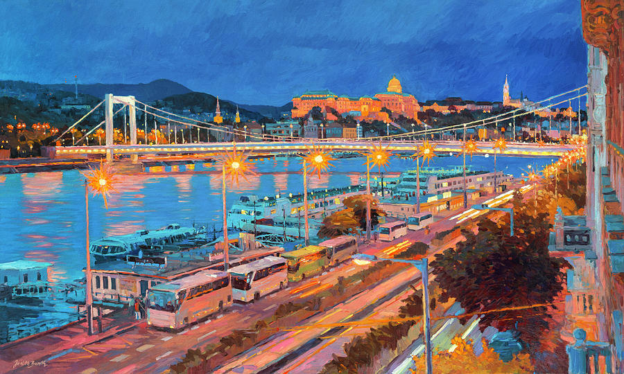 Buda Castle Painting - Elisabeth Bridge With Lights by Judith Barath