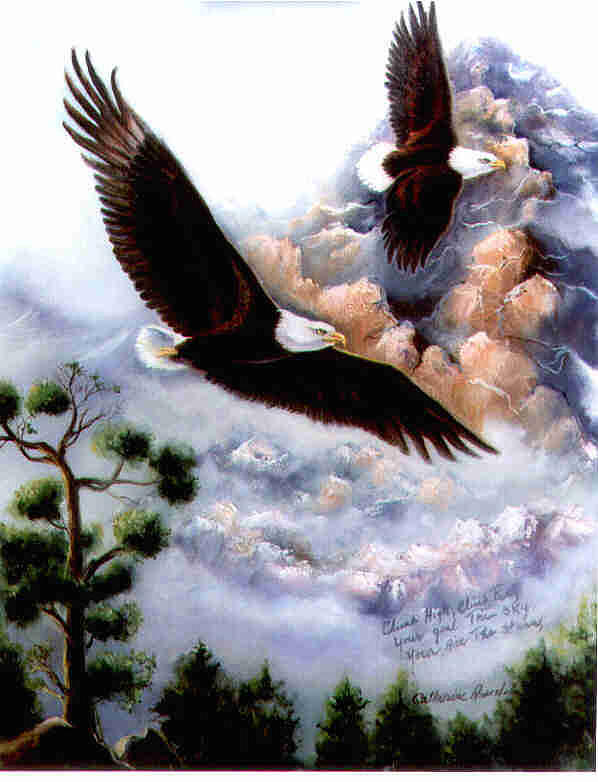 Elishas Eagles Painting by Catherine Amendola