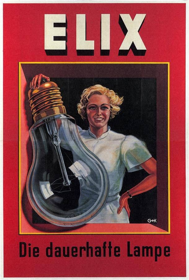 Elix - Die Dauerhafte Lampe - Vintage Advertising Poster Mixed Media