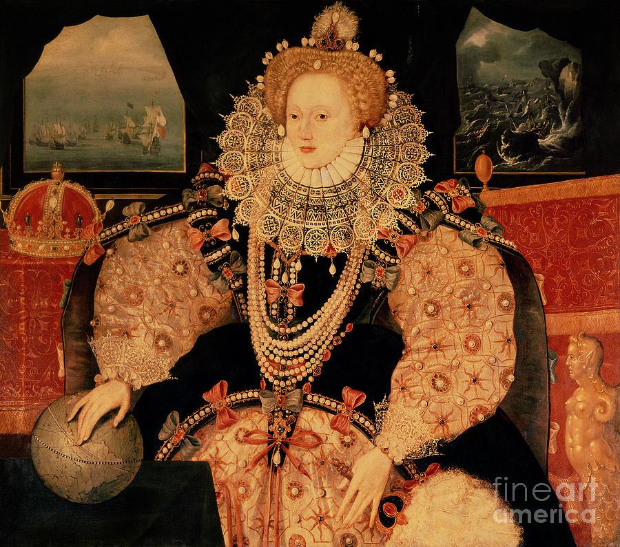 Elizabeth Painting - Elizabeth I Armada Portrait by English School