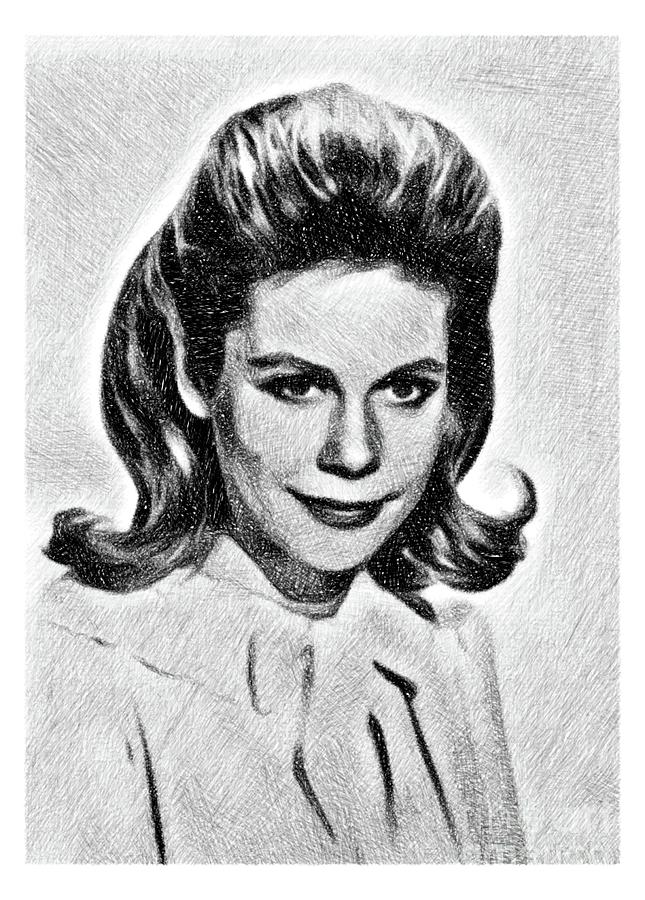 Elizabeth Montgomery, Vintage Actress By Js Drawing