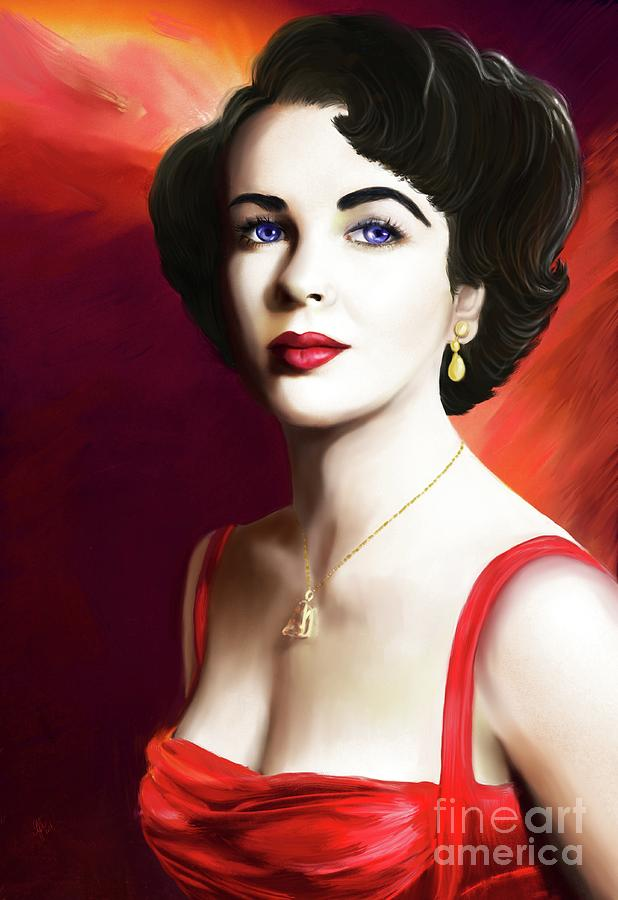 Hollywood Digital Art - Elizabeth Rosemond Taylor by Sydne Archambault