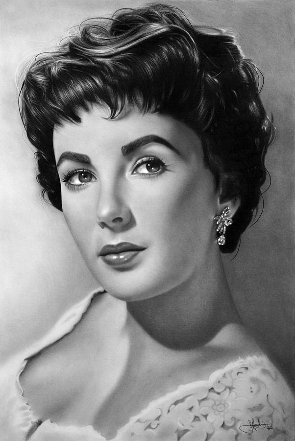 Elizabeth Taylor Drawing Drawing by John Harding