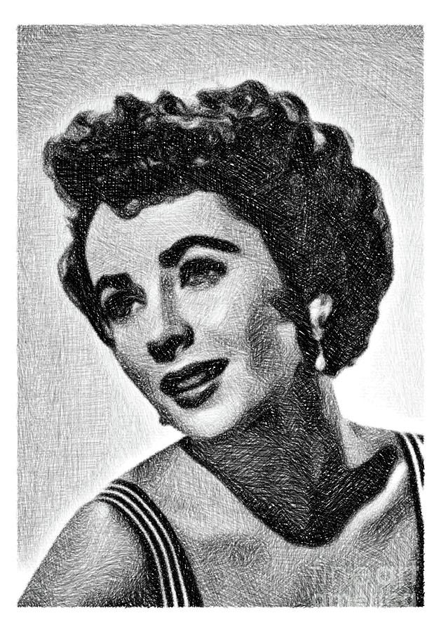 Elizabeth Taylor, Vintage Actress By Js Drawing