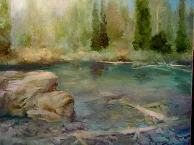 Landscape Painting - Elk Creek Pond by Gil Ross
