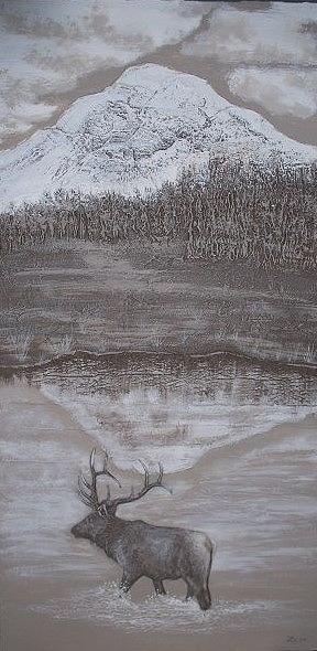 Elk Sculpture - Elk Crossing The Refuge by Lorraine Gould-Zoller