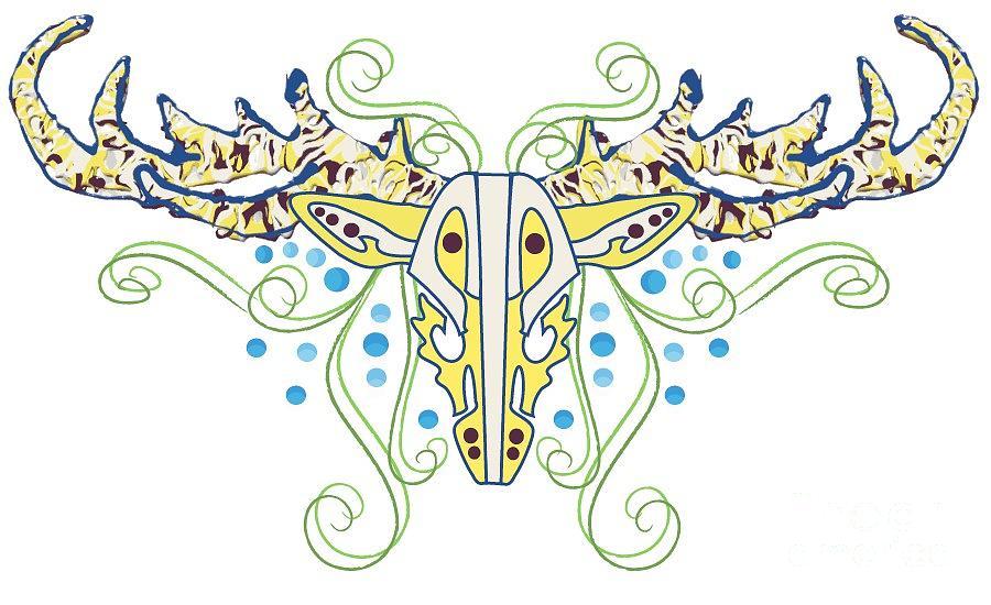 Elk Digital Art - Elk Head Design by Ashley Staley