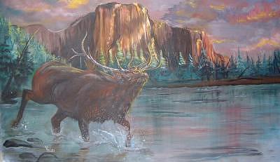 Elk In River Painting by Merideth Van Every
