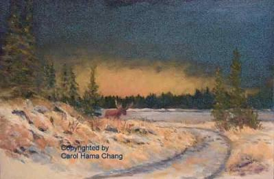 Elk Island Spring Thaw With Moose Painting by Carol Hama Chang