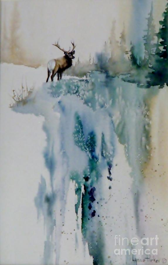 Elk On Top Painting by Lynne Parker