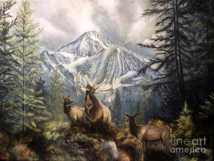 Oil Painting - Elk Ridge by Amanda Hukill