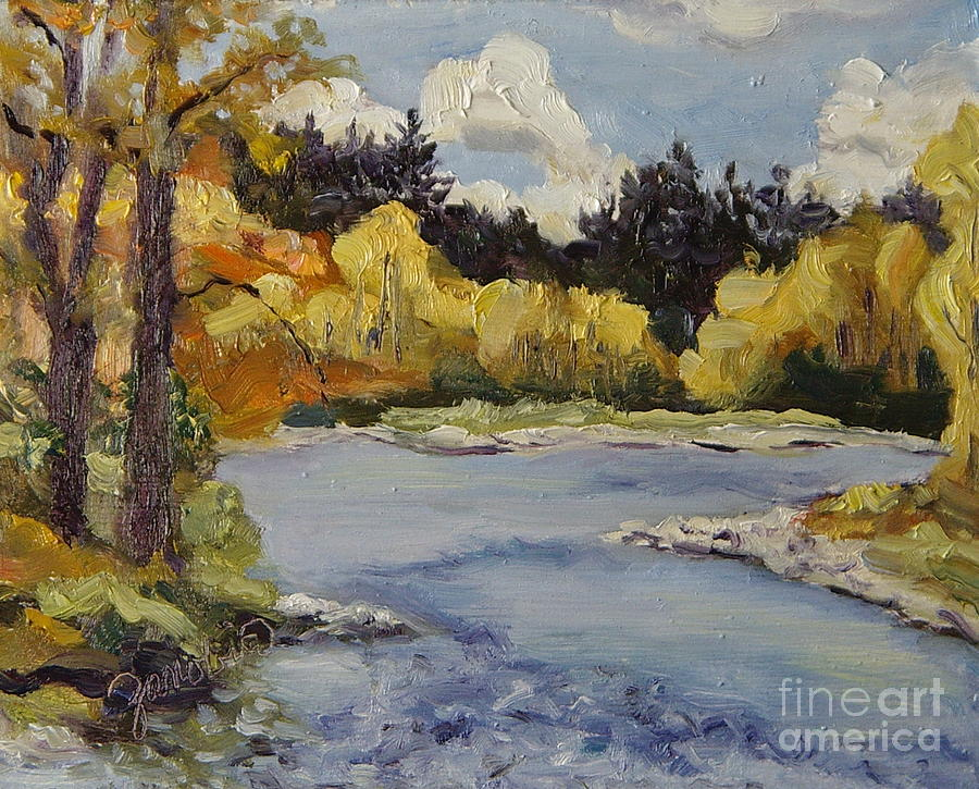 Elk River Painting - Elk River Fall Steamboat Springs Colorado by Zanobia Shalks