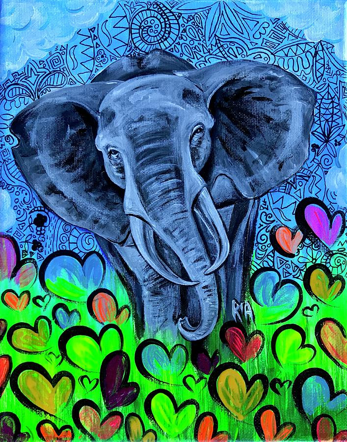 Elephant Painting - Elley  by Artist RiA