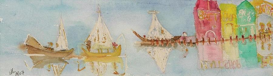 Ocean Pier Painting - Ellies Cafe by Ellie Sorkin
