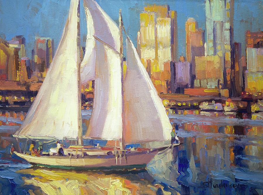 Seattle Painting - Elliot Bay by Steve Henderson