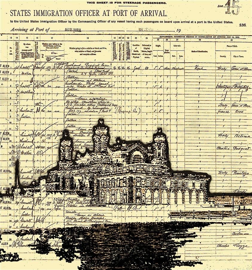 Ink Painting - Ellis Island by Jeff DOttavio