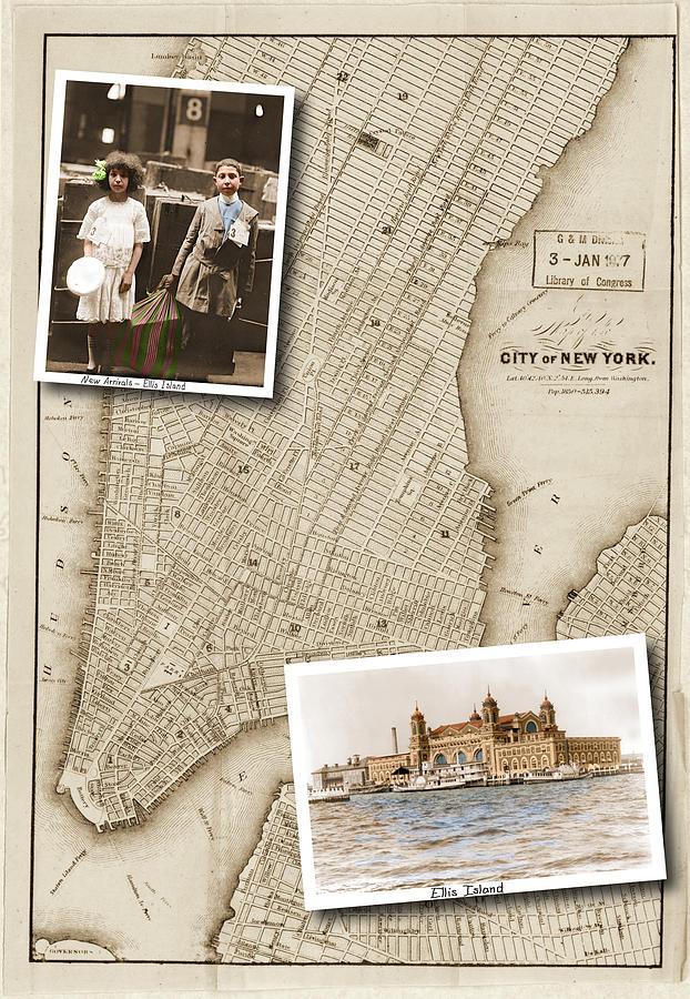 Ellis Island Digital Art - Ellis Island Vintage Map Child Immigrants by Karla Beatty