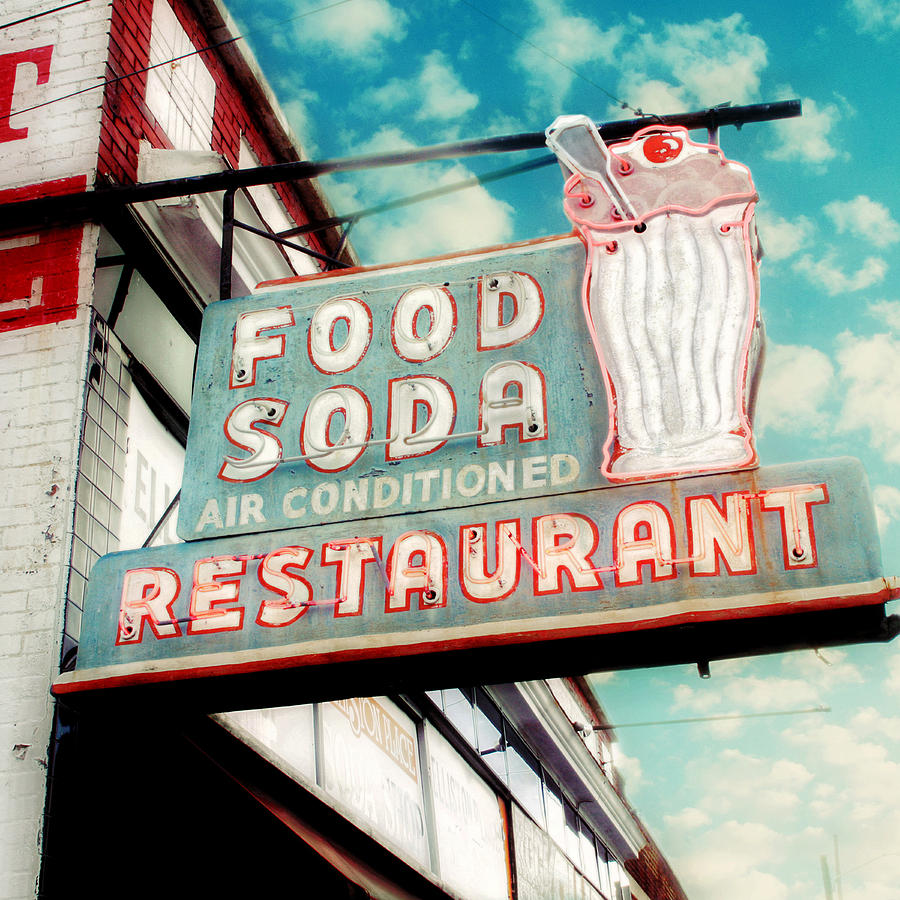 Old Retro Signs Photograph - Elliston Place Soda Shoppe - Square Crop by Amy Tyler