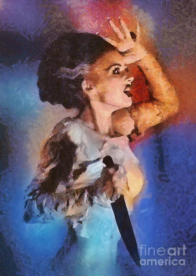Horror Painting - Elsa Lanchester, Bride Of Frankenstein by Mary Bassett