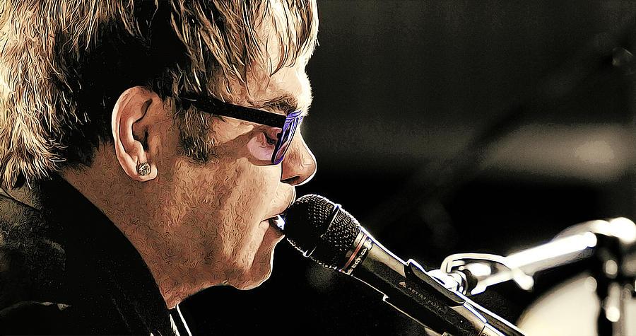 Music Painting - Elton John at the Mic by Elaine Plesser