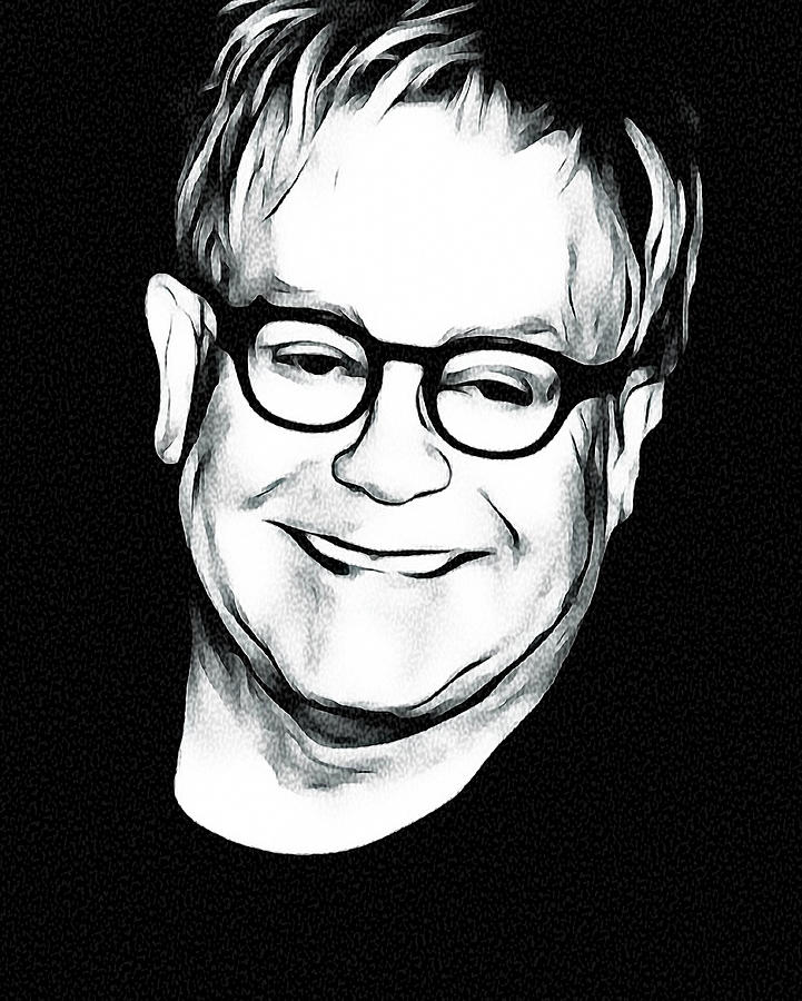 Elton Digital Art - Elton John Black and White by Yury Malkov