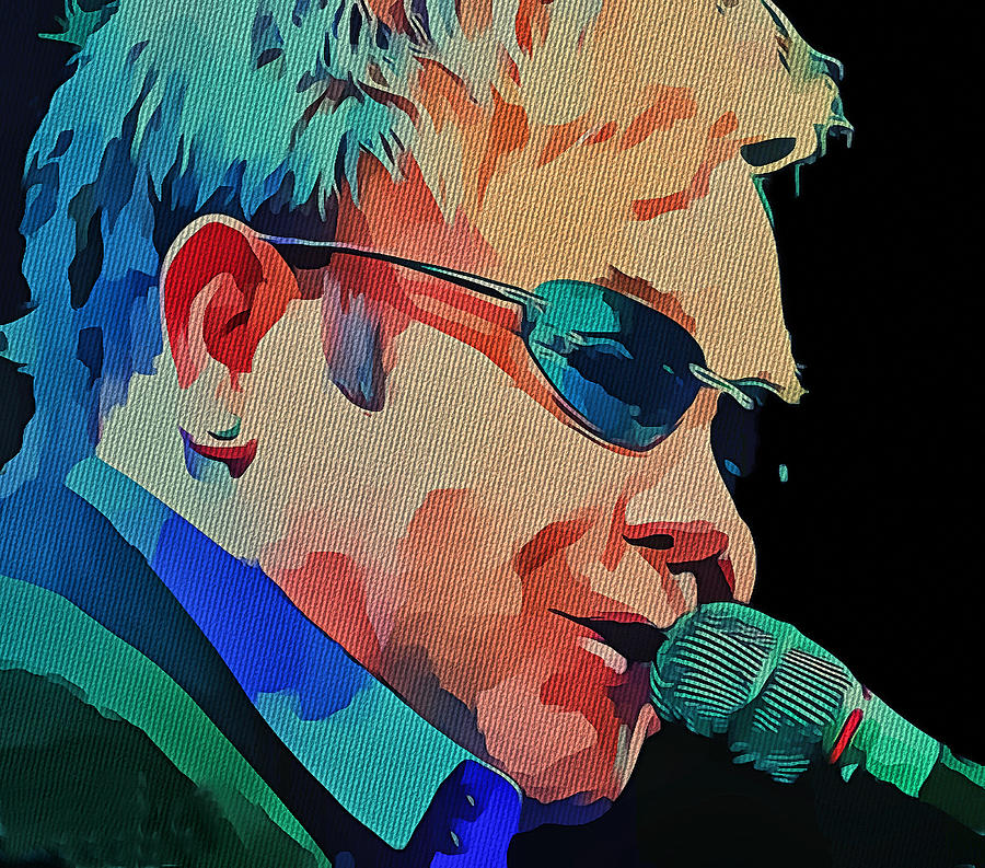 Elton Digital Art - Elton John Blue Eyes Portrait 2 by Yury Malkov