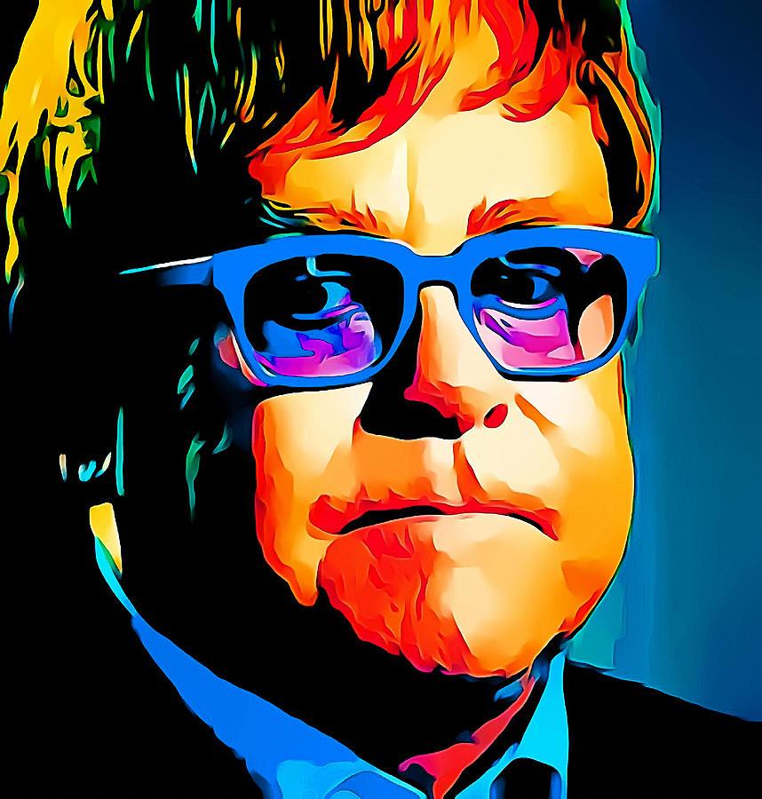 Elton Digital Art - Elton John Blue Eyes Portrait by Yury Malkov