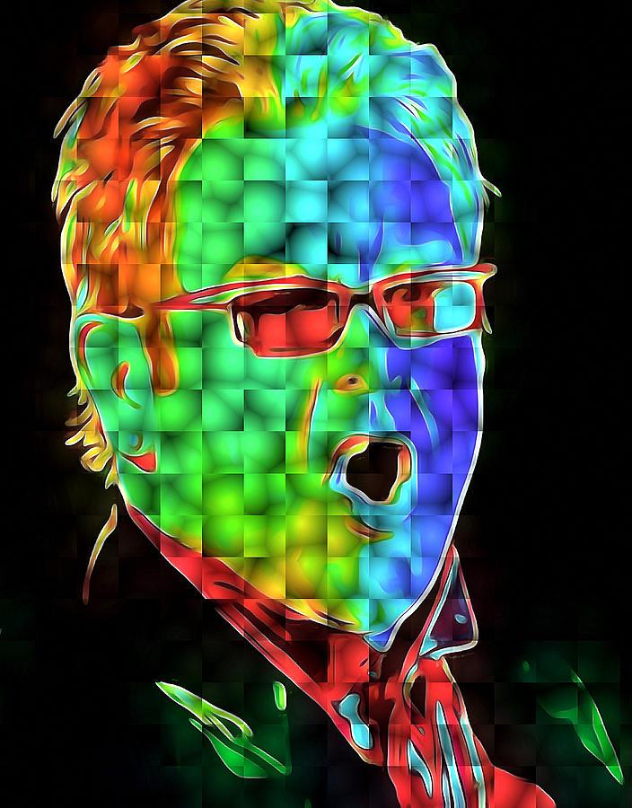 Elton Digital Art - Elton John in Cubes 2 by Yury Malkov