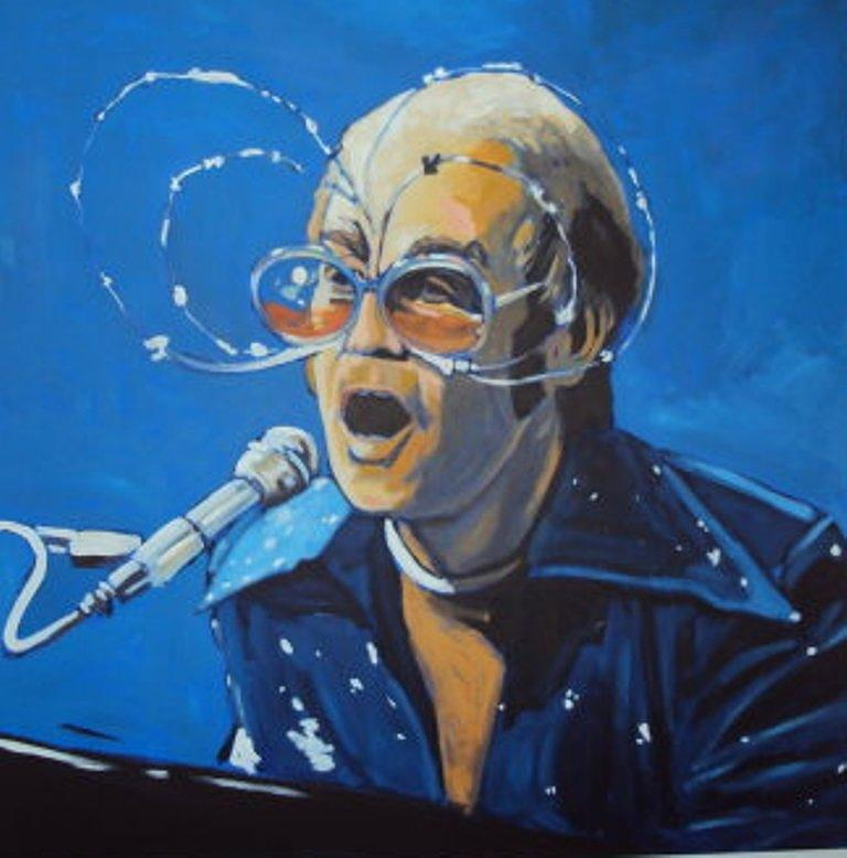 S Painting - Elton John by Kingston